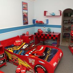 Have you ever thought of setting up a Disney themed bedroom for your kids? It's actually way more affordable than taking them to Disney wolrd. Car Bedroom, Bedroom Themes, Kids Bedroom, Bedroom Decor, Bedroom Ideas, Disney Themed Bedrooms, Hot Wheels Storage, Creative Beds, Room Partition Designs