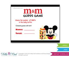 Boy Mickey Mouse M&M Game Guess How Many by adlyowlinvitations