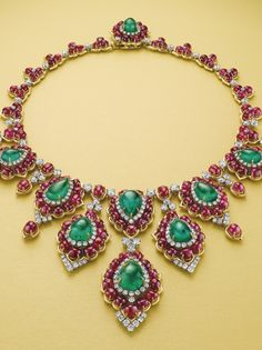 A superb emerald, ruby and diamond necklace, by Bulgari.