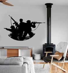 Wall Vinyl Soldier Military War Army Cool Decal Mural by BoldArtsy