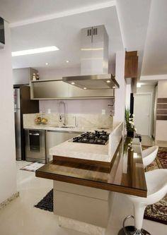 Veja belas referências de projetos de cozinhas clean como inspiração. São 60 fotos para conferir. Modern Kitchen Interiors, Modern Kitchen Cabinets, Home Decor Kitchen, Interior Design Kitchen, Kitchen Furniture, Kitchen Island, Home Room Design, Dream Home Design, House Design