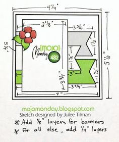 Card sketch Mojo Monday 432 with measurements Scrapbook Sketches, Card Sketches, Scrapbook Cards, Card Making Templates, Box Templates, Spellbinders Cards, Square Card, Card Making Techniques, Card Patterns