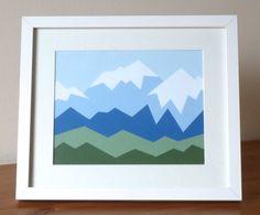 Geometric Mammoth Mountain Acrylic Painting by SnowbirdArtworks