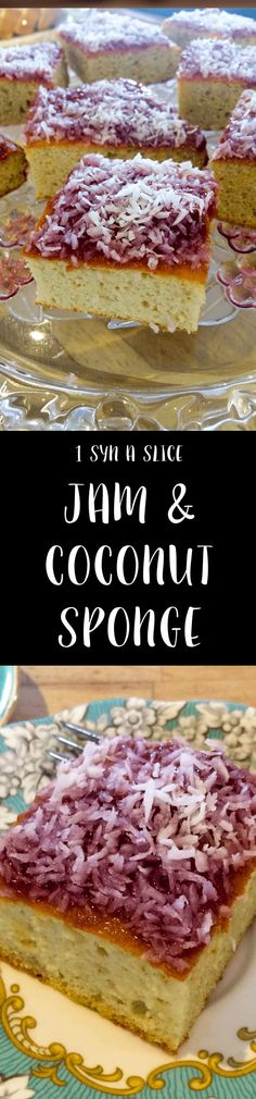 Diet drinks slimming world 1 Syn A Slice Jam And Coconut Sponge Slimming World Slimming World Deserts, Slimming World Puddings, Slimming World Tips, Slimming World Recipes Syn Free, Slimming Eats, Sliming World, Brownie, Cupcakes, Healthy Desserts