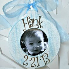 Picture Frame Ornament - Cottage Stripes Sky Blue, makes the best baby gift! You can hang them from a door knob, dresser knob, or on a cute stand. Personalized as you wish! Personalised Frames, Personalized Ornaments, Picture Frame Ornaments, Picture Frames, Christmas Frames, Christmas Tree, Best Baby Gifts, Stripes Design, Cottage
