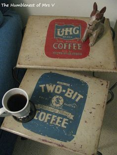 Hand painted vintage labeled coffee tables by The HumbleNest - love the colours!