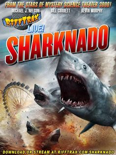 (After a TV announcer mention the hurricane that's heading towards LA) A hurricane... hence the title Shark... nado