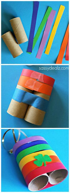 Rainbow Binoculars made out of toilet paper rolls! #Kids art project #shamrock #Stpatricksday craft | http://www.sassydealz.com/2014/03/rainbow-toilet-paper-roll-binoculars-craft-kids.html