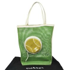 Auth-CHANEL-Sports-Tennis-Line-Tote-Bag-Green-Canvas-CC-Italy-Vintage-W09768