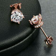 951993e6a SOLD 18k Rose Gold Simulated Diamond Stud Earrings 18k Rose Gold Plated 4mm  0.8 ct Simulated Diamond Stylish Trendy Fashion Push-Back Stud Earring  Jewelry ...