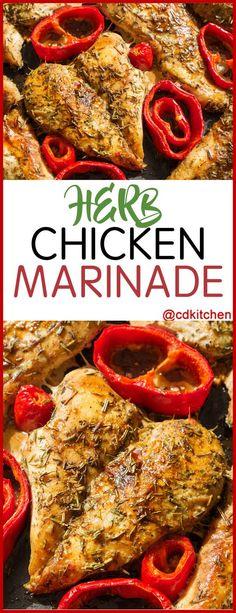 Herb Chicken Marinade - Recipe is made with seasoning mix, salt, white wine, olive oil, lemon, apple cider vinegar, fresh basil, fresh parsley, fresh thyme, fresh rosemary, garlic, black pepper   CDKitchen.com