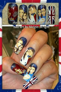 Dedicated to their Royal Highness Duchess Kate and Prince William's first born Prince George! Hand painted nail art. Painted with Nail polish and acrylic paint by Melgin Wright  http://www.facebook.com/TheWrightWayToPolishNailArtByMelginWright  http://pinterest.com/melginswright/boards/