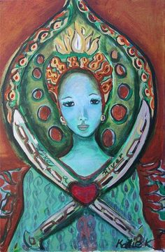 """""""When we give cheerfully and accept gratefully, everyone is blessed."""" ~ Maya Angelou (art by Katie Ketchum)"""