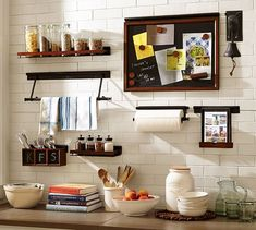 So much storage and organization going on in this kitchen wall system! Build Your Own - Daily System Components - Rustic Mahogany stain (affliliate link) Home Furnishing Stores, Home Furnishings, Mahogany Stain, Home Office Storage, Wall Organization, Storage Cabinets, Wall Shelves, Display Shelves, Kitchen Design