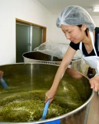 東京唯一のワイナリー開業 練馬で女性1人奮闘 発酵中のワインをかき混ぜる越後屋美和さん