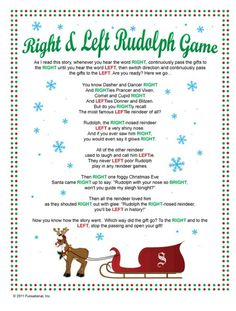 Right and Left Gift Passing game - thinking two or three groups class Christmas party Xmas Games, Holiday Games, Christmas Party Games, Preschool Christmas, Noel Christmas, Xmas Party, Christmas Activities, Christmas Traditions, Family Christmas