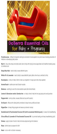 "Free Printable ""DoTerra Essential Oils for Baby  Pregnancy"" Bookmark"