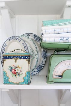 Green, blue, and white kitchen corner