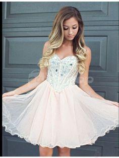Sweetheart Neck Beaded Bodice Chiffon Short Prom Dresses Homecoming…