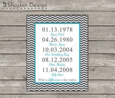 PRINTABLE Chevron Family Important Dates Wall Art - Printable - What A Difference A Day Makes - Custom Design 8x10 diy Digital jpeg File. £5.00, via Etsy.