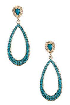 Turquoise Open Teardrop Earrings