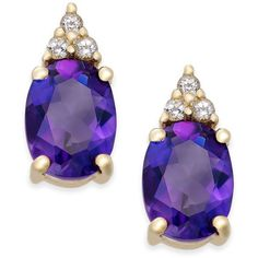 Amethyst (2-1/5 ct. t.w.) and White Topaz (1/5 ct. t.w.) Stud Earrings... ($140) ❤ liked on Polyvore featuring jewelry, earrings, yellow gold, white topaz earrings, amethyst jewellery, round stud earrings, gold jewellery and round earrings