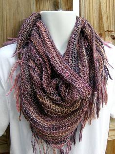 Shawl hand knit versatile shawl scarf Sugar by kittygrrlzknits, $120.00  Hand knit with hand spun yarn, merino wool and tencel blend