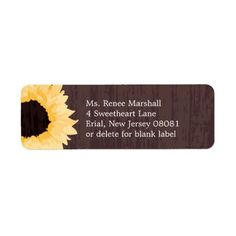2 circle or square watercolor sunflower return address labels