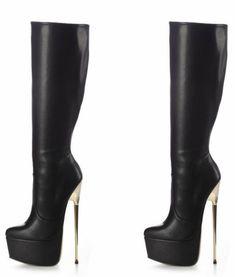Wow! Gold heeled boots! Knee High Platform Boots, High Heel Boots, Heeled Boots, Shoe Boots, Women's Shoes, Very High Heels, Black High Heels, High Heels Stilettos, Pumps