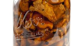 A recipe for pickled chanterelle mushrooms by Hank Shaw. Pickled chanterelles are excellent as an antipasto or in sandwiches. Wild Mushrooms, Stuffed Mushrooms, Chanterelle Mushroom Recipes, Canning Recipes, Canning Jars, Mason Jars, Wild Edibles, Fermented Foods, Veggie Recipes