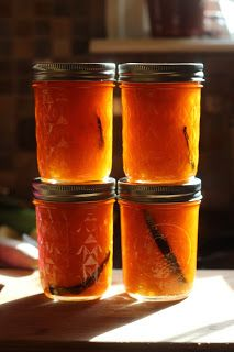 Apricot Vanilla Bean Jam  Apricot Vanilla Bean Jam makes about 5 cups  3 lbs apricots 1 cup sugar 2 tablespoons lemon juice 2 tablespoons spiced rum 3 vanilla beans