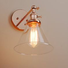 "Pathson Industrial Vintage Modern Wall Light Loft Bar Kitchen Island Corridor Light Fittings Sconce Wall Light Lamp Fixture E27 with 7.1"" Cone Clear Glass Light Shade (Copper)"