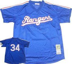 Men's Texas Rangers #34 Nolan Ryan 1995 Mesh BP Blue Throwback Jersey