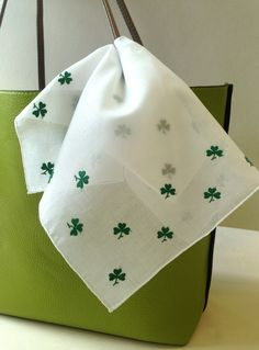 Happy St. Patrick's Day! Embroidered shamrock handkerchiefs are the perfect way to show your green this holiday! $35 each, and well worth it.