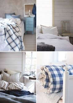 These seaside cottages look so cute and cosy with their blue and white accents, stri. Coastal Style, Coastal Living, Coastal Decor, Blue And White Bedding, New England Farmhouse, Water House, Ocean House, Beach House Decor, Home Decor