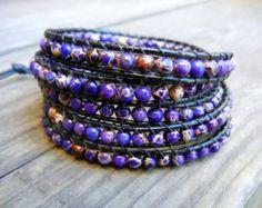 Beaded Leather Wrap Bracelet 5 Wrap with by BetsyGraceJewelry