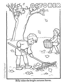 autumn coloring page october coloring - October Coloring Page