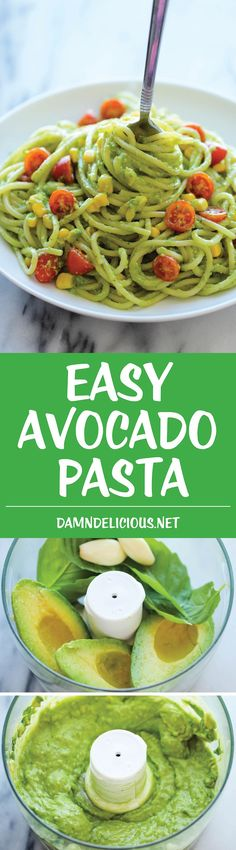 Avocado Pasta - The easiest, most unbelievably creamy avocado pasta. And it'll be on your dinner table in just 20 min! (easy food recipes for dinner) Creamy Avocado Pasta, Avocado Pesto, Pasta With Avocado Sauce, Chicken Avocado Pasta, Avocado Food, Pesto Sauce, Tomato Sauce, Baby Food Recipes, Cooking Recipes