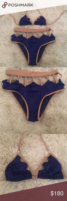 Jagged edge beach bunny bikini Jagged edge beach bunny bikini. Bottom is jagged all around-front and back. Bottom size S top size M. Top has beautiful rhinestone detail. Worn once. Looks like new Beach Bunny Swim Bikinis