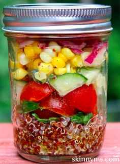 Mediterranean Quinoa Salad in a Jar - I make this salad on Sunday and have for lunch on Meatless Mondays. Drizzle with our homemade Vinaigrette. #cleaneating #superfoods #lowcalorie