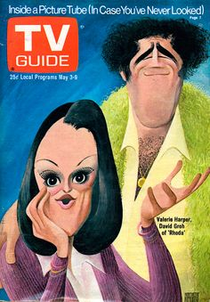 TV Guide, May 3, 1975 — Valerie Harper & David Groh in Rhoda (1974-78, CBS), illustration by Al Hirschfeld
