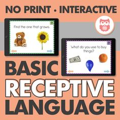 This no print file is the perfect grab and go therapy solution for receptive language. Includes all REAL PICTURES so it is appropriate for all ages, no kiddish clip art graphics! The file includes six sections targeting: Object Identification Verb Identification Attribute Identification (size, shape, color, etc...) Function Identification Category Identification WH Questions (who, where, what)