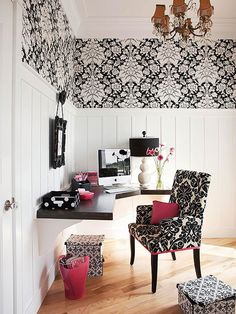 Traditional Refresh A traditional damask wallpaper is given a fresh and modern lease on life when done in a graphic color scheme. Pairing it with hot pink and loads of white walls makes it a whimsical dream come true. By altering the scales of the different damask patterns on the accessories and walls, the room remains cohesive without going overboard.