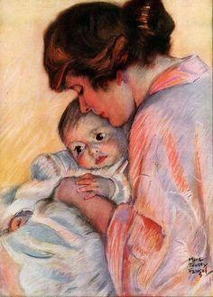 MOTHER LOVE Maud Tousey Fangel F S BRUNNER Angel ORIGINAL 1920 MAGAZINE PRINT