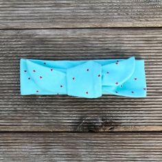 Top Knot Head Wrap    Mini Red Hearts on Aqua Red Hearts, Product Page, Top Knot, Head Wraps, Screen Printing, Knots, Aqua, Mini, Screen Printing Press