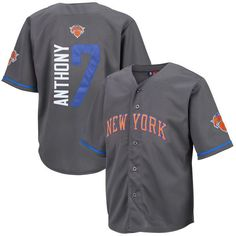 fd6829d88 Carmelo Anthony New York Knicks Majestic Youth NBA Baseball Jersey -  Charcoal