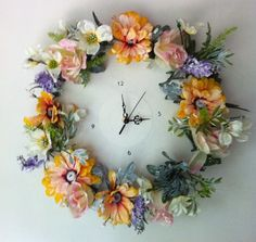 Shabby Chic Floral Wall Clock, Upcycled Vinyl Record Clock. £35.00