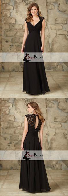 Elegant Black Lace Chiffon Long A-line Open Back Bridesmaid Dresses, Wedding Guest Dresses, PD0389