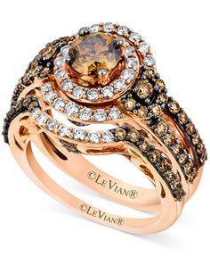 Le Vian 14k Rose Gold Bridal Set, Chocolate Diamond (1-3/4 ct. t.w.) and White Diamond (1/2 ct. t.w.) Ring Set - Diamonds - Jewelry & Watche...