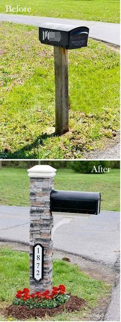 Easy and Cheap Curb Appeal Ideas Anyone Can Do (on a budget!) Give your mail box a makeover! ~ 17 Impressive Curb Appeal Ideas (cheap and easy!)Give your mail box a makeover! ~ 17 Impressive Curb Appeal Ideas (cheap and easy! Home Improvement Projects, Home Projects, Home Renovation, Home Remodeling, Kitchen Renovations, Br House, House Front, House Yard, Home Decoracion